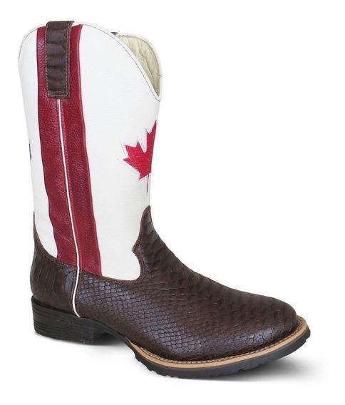 Bota Country Texana Couro Anaconda E Floater Canadá Masculin
