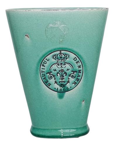 Vaso Oval Ceramica G Verde   22 Larg X 27 Alt X 12 Prof