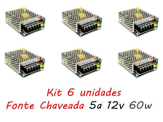 Kit 6 Fonte Chaveada 5a 12v 60w P/ Cftv Fita De Led