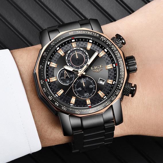 Relógio Masculino Lige Lg9902a Luxo Pronta Entrega