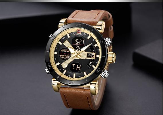 Relógio Dourado Naviforce 9132 Luxuoso Barato Frete Grátis