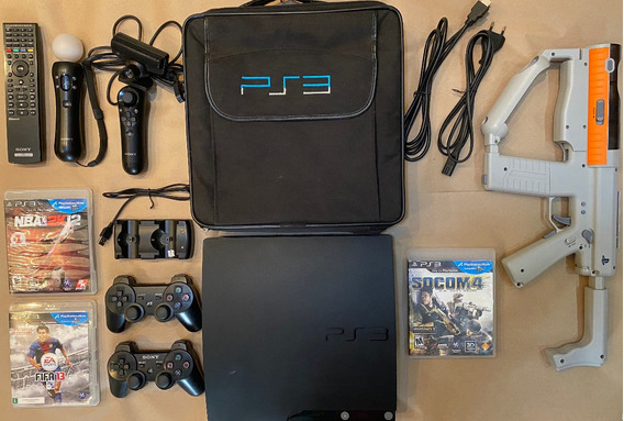 Console Ps3 Slim Playstation 3 Jogos+pistola Gun+ Controles