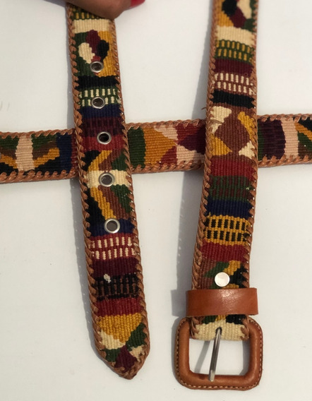 Cinturon Tejido Artesanal, Boho, Piel, Bordado, Mujer