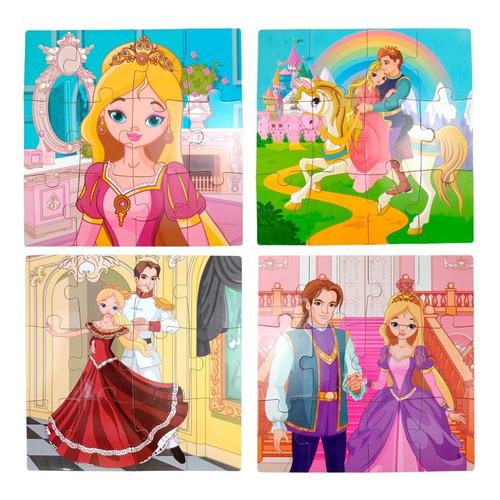 Rompecabezas 4 En 1 Princesas Madera 48 Fichas Niñas Didácti