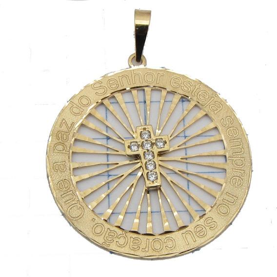 2550 Pingente Medalha Grande Rpw Ouro 18k Ro Joias