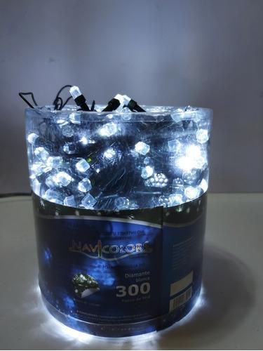 Imagen 1 de 5 de Serie Navideña 300 Luces Led Foco Diamante Blanco Cable Verd