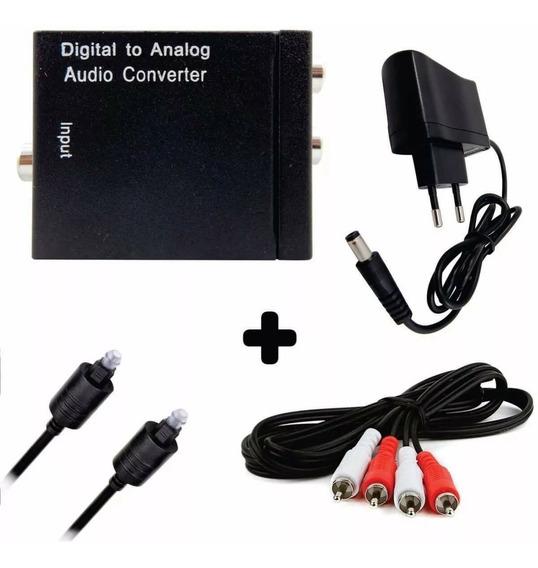 Kit Conversor Óptico Coaxial Digital P/ Rca C/ Cabos Barato