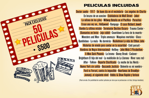 Pack X 50 Unidades Poster Peliculas Fullhd