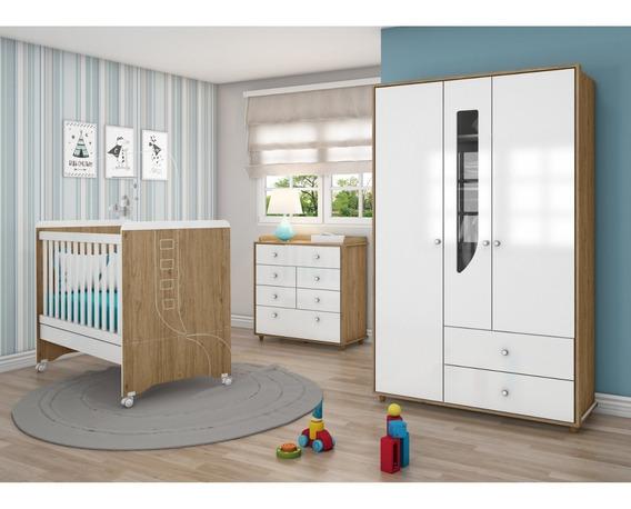 Quarto De Bebê Completo Com Guarda Roupa 3 Portas, Ga
