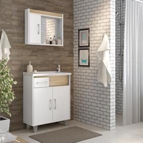 Gabinete P Banheiro Com Pés E Cuba - Branco/elmo Suíço