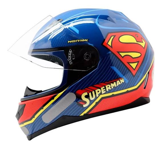 Capacete Norisk Ff391 Super Homem Symbol - Azul/vermelho