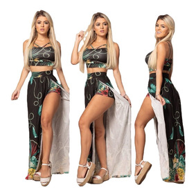 Conjunto Feminino Cropped Blusa E Saia Longa Com Bojo Shorts
