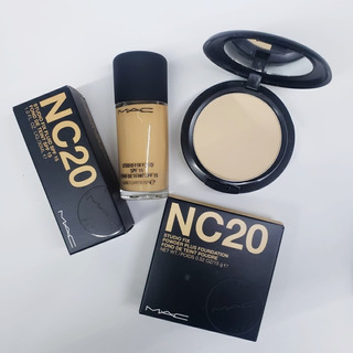 Lote Maquillaje Studio Fix Mac Y Polvo 100% Original + Bolsa
