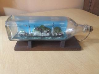 Barco En Botella De Vidrio Antiguo