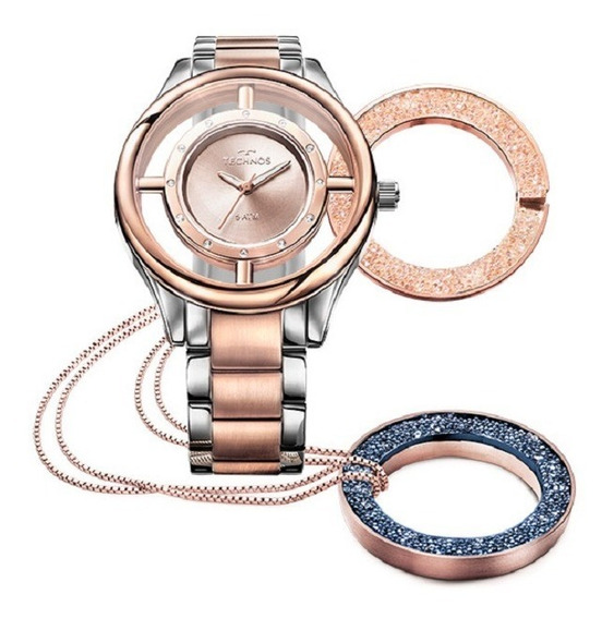 Relógio Technos Feminino Signature Gl30fn/5a Prata Rose Gold