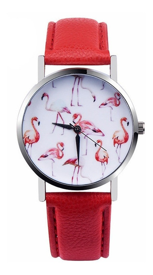 Relógio De Flamingo Vermelho E Branco Pronta Entrega