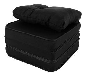 Puff Multiuso 3 Em 1 Solteiro + Travesseiro Preto Jacquard