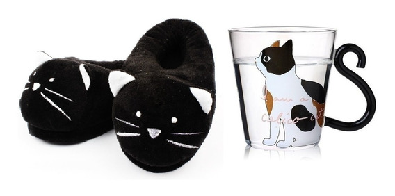 Pantuflas Gato Negro + Taza Gato