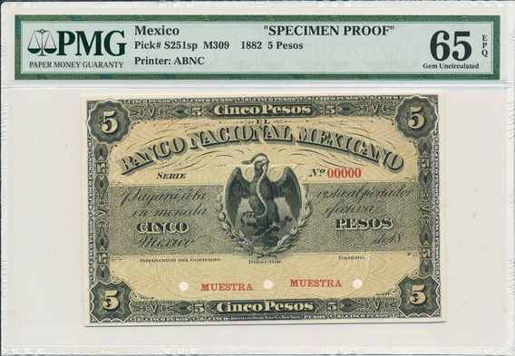 Billete Specimen Proof, $5 Pesos. Banco Nacional Mexicano