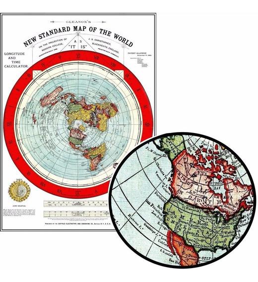 Mapa Gleason 60cmx84cm - Terra Plana Para Decorar Quarto