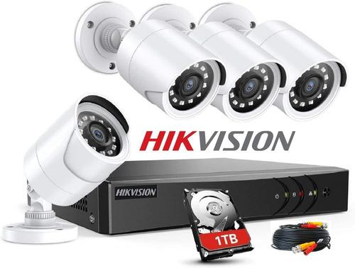 Imagen 1 de 10 de Kit Seguridad Dvr Hikvision 4 Camaras Exterior Full Hd Disco Rigido 1tb