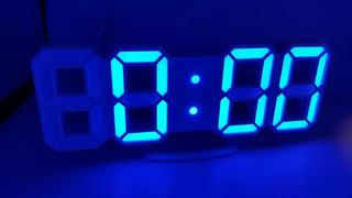Reloj Digital Luminoso Números Led 3d, Alarma, Usb Azúl