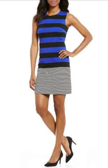 Calvin Klein Vestido Mujer Rayas Azul Talla 12 Algodon