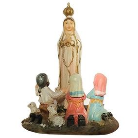 Imagem Nossa Senhora Fatima Com Pastores Resina 17cm Escultu
