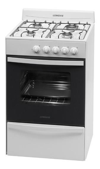 Cocina A Gas Longvie 13231bf 56cm Blanca Cajón Parrilla 12ct
