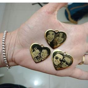 2 Pingentes Coração Dourado Com Foto + Correntinha Folhada