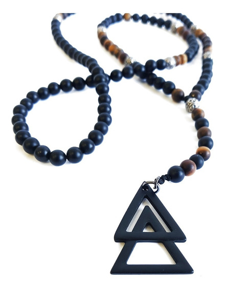 Terço Colar Masculino Pedras Ônix Amuleto Piramide Dupla