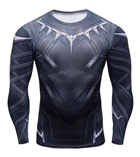 Imagen 1 de 3 de Camiseta De Compresión Manga Larga Para Hombre - Superheroes