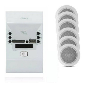 Kit Som Ambiente Wallplayer Frahm Usb Bluetooth +6 Arandelas