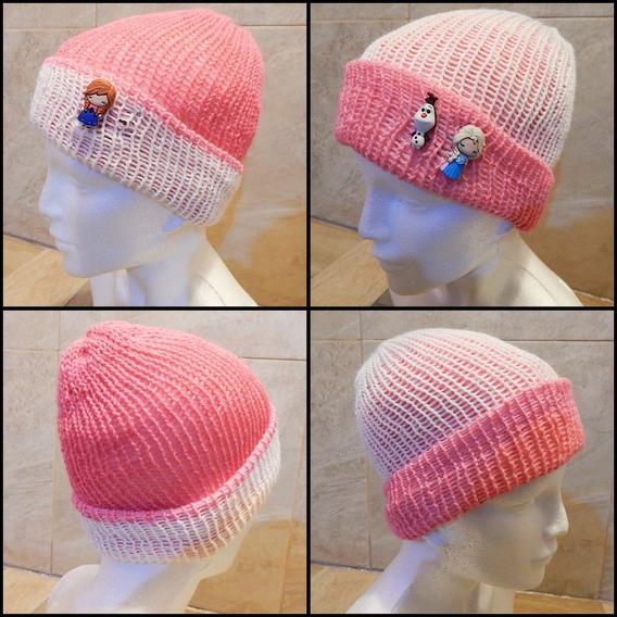 Gorro Doble Vista De Tejido Rosa Crochet Unisex Frozen