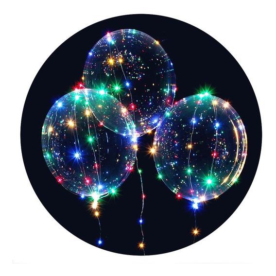 Mayoreo 10 Globos Luz Led Transparente 60cm Pilas Gratis
