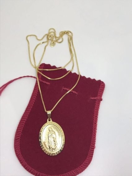 Corrente Veneziana 60cm Com Medalha De Guadalupe Banhada