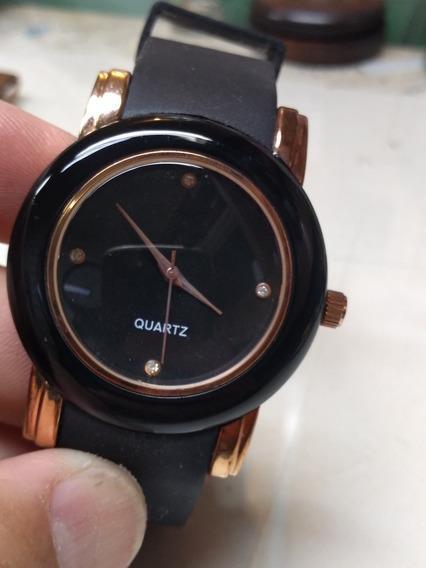 Relógio Quartz Mostrador Preto Super Estiloso E Fashion