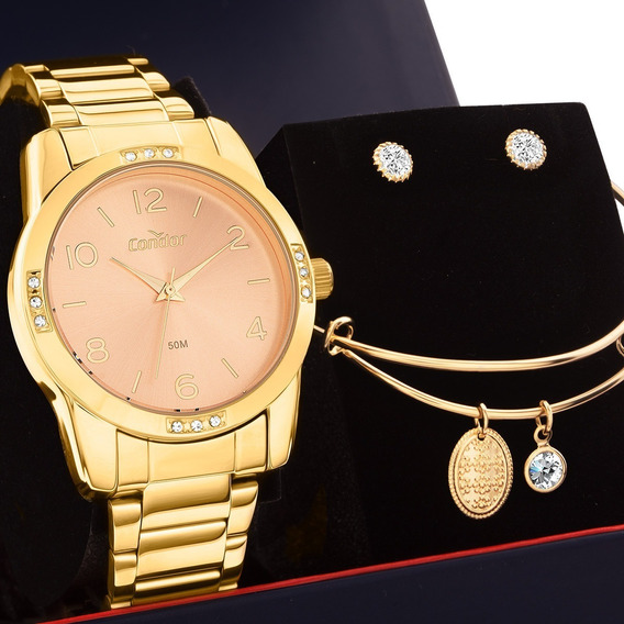 Kit Relógio Feminino Condor Com Semi Joias Co2035koe/k4l