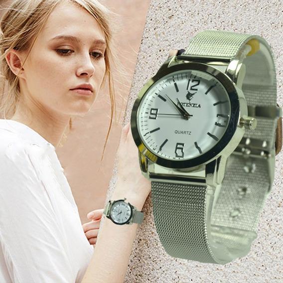 Relógio Feminino De Pulso Pulseira Malha De Aço Frete Grátis