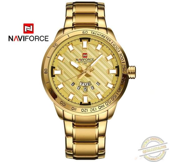 Relógio Masculino Social Luxuoso Aço Inoxidável Dourado