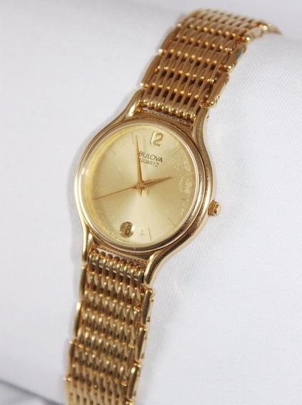 Relógio Bulova Watch Masculino Dourado Em Aço Inox.