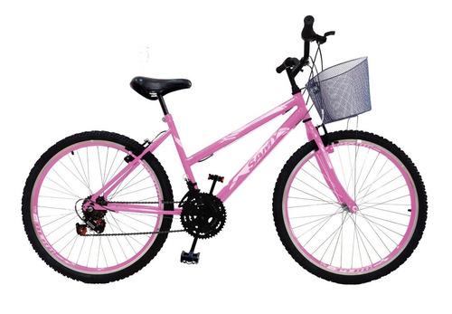 Imagem 1 de 2 de Bicicleta Feminina Aro 26 18 Marchas Com Cesta