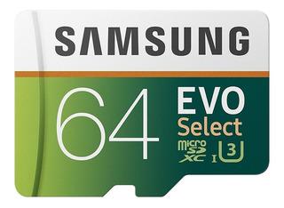 Micro Sd Samsung 64gb Evo Select 100mb/s Clas 10 U3 Original