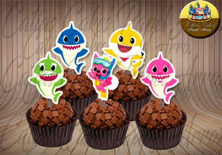 50 Topper Tags Para Doces Baby Shark