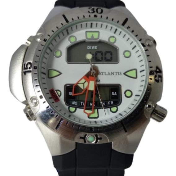 Relógio Digital Atlantis Prata Fundo Branco - G3154