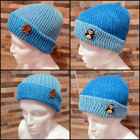 Gorro Doble Vista De Tejido Azul Crochet Unisex Pinguino