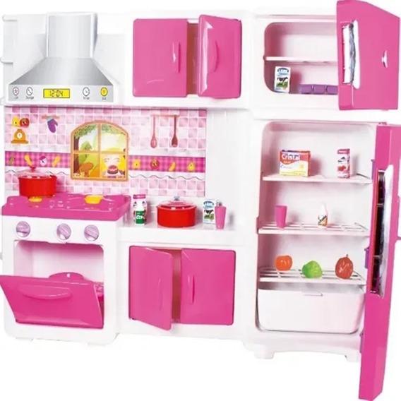 Kit Cozinha Infantil Completa Geladeira Fogao 82cm Rosa