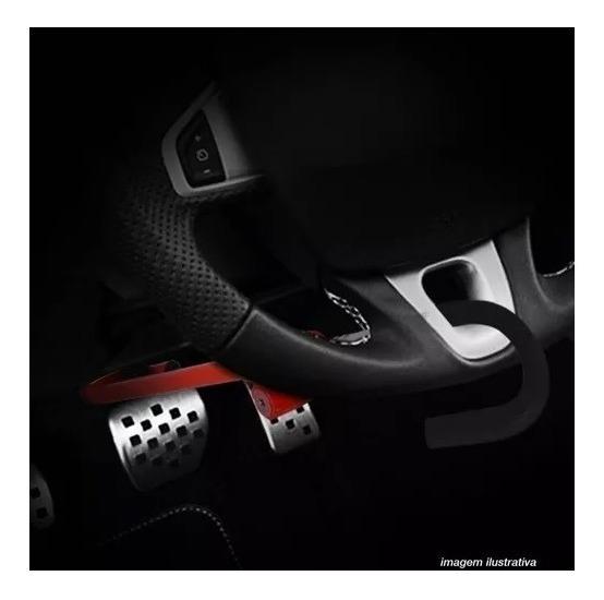 Trava Segurança Volante Pedal Antifurto Universal Vermelha