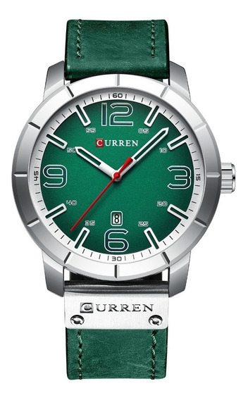 Relógio Masculino Curren Luxo Esportivo Aço Inox Prata Verde