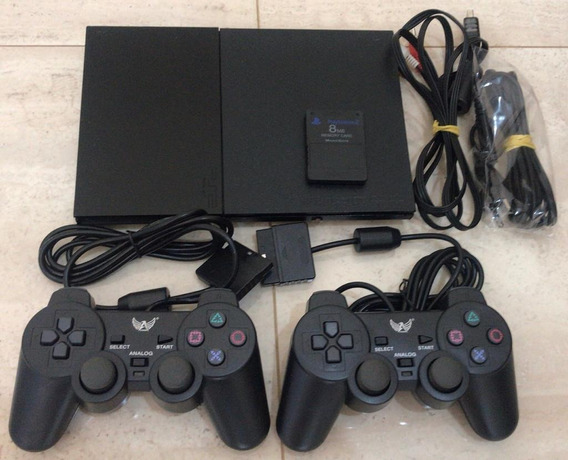 Playstation 2 + 2 Controle + 1 Memory Card + Brinde 4 Jogos
